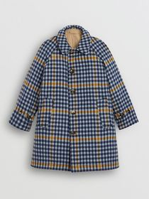 Burberry Reversible Check Wool and Cotton Car Coat