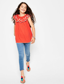 Boden Frill Embroidered Yoke Top