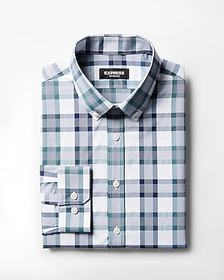 Express slim plaid button collar wrinkle-resistant