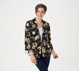 """As Is"" Susan Graver Printed Peachskin Blazer with"