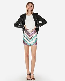 Express high waisted chevron sequin mini skirt