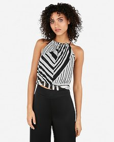 Express metallic printed high neck cropped tank