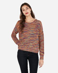 Express multicolor twist back pullover sweater