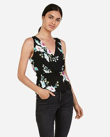 Express floral satin deep v-neck surplice top