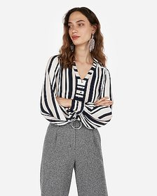 Express striped button front blouson sleeve chelse