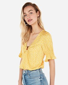 Express printed puff sleeve ring top