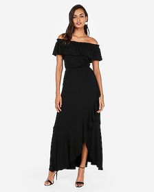 Express off the shoulder ruffle stretch maxi dress