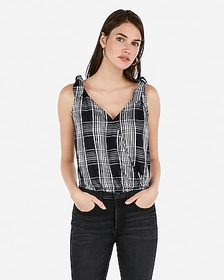 Express plaid tie strap surplice tank