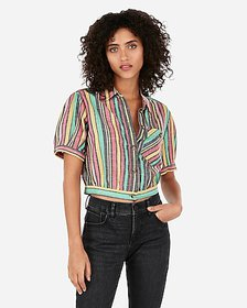 Express multi stripe cropped button front linen-bl