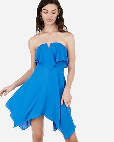 Express strapless v-wire flounce dress