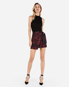 Express high waisted floral jacquard wrap mini ski