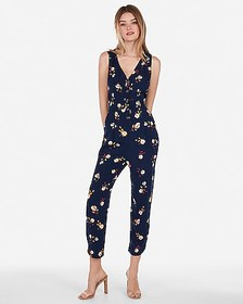 Express printed button front tie back jumpsuit