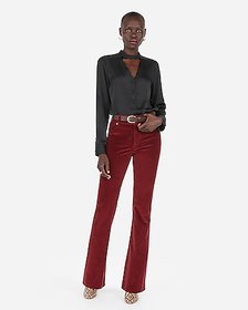 Express satin choker button front chelsea popover