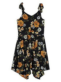 Ally B Girl's Floral Hanky-Hem Fit-&-Flare Dress B