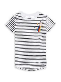 Just Kidding Girl's Striped Crewneck Tee MARBLE CO
