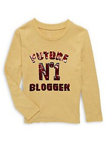 Just Kidding Girl's Sequin Graphic Long Sleeve Top