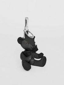 Burberry Thomas Bear Charm in Leather in Black