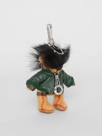 Burberry Thomas Bear Charm in Leather Jacket in Ca