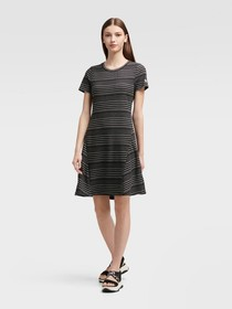 Donna Karan Striped Rib Knit Dress