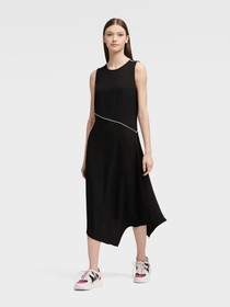 Donna Karan Asymmetrical Dress With Piping