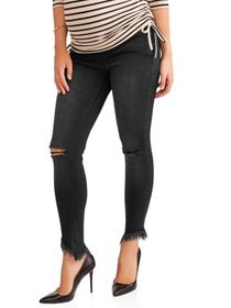 Maternity Over-the-Belly Skinny Ankle Jean w/Rips