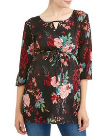 Maternity Tie Waist Floral Tunic - Available in Pl