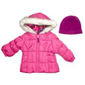 LONDON FOG Baby Girls Puffer with Faux Fur Hood &