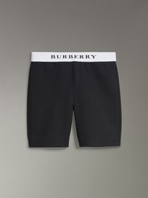 Burberry Logo Stretch Jersey Shorts in Black