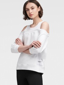 Donna Karan Off-The-Shoulder Pullover With Tank