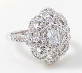 Diamonique Royal Collection Vintage-Style Ring, St