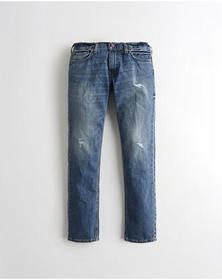 Hollister Slim Straight Jeans, RIPPED MEDIUM WASH