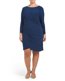 ADRIANNA PAPELL Plus Long Sleeve Faux Wrap Dress