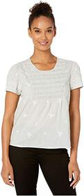 Lucky Brand Smocked Embroidered Top