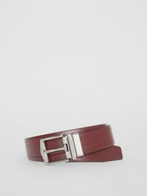 Burberry Reversible London Leather Belt in Burgund