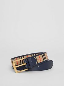Burberry 1983 Check and Leather Belt in Ink Blue