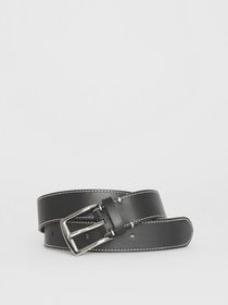 Burberry Topstitched Leather Belt in Black