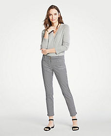 The Petite Cotton Crop Pant In Gingham - Curvy Fit
