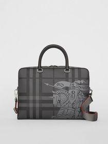 Burberry EKD London Check and Leather Briefcase in