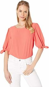 1.STATE Short Sleeve Crew Neck Blouse with Knot Sl