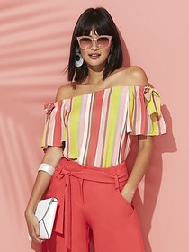 Stripe Bow-Accent Off-The-Shoulder Blouse - Sweet