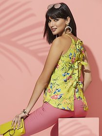 Floral Bow-Back Halter Blouse - Sweet Pea - New Yo