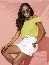 Chartreuse Off-The-Shoulder Blouse - Sweet Pea - N