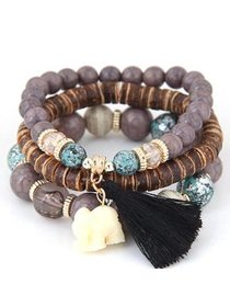 Christmas Clearance! Women Wood Beads Bracelets Bo