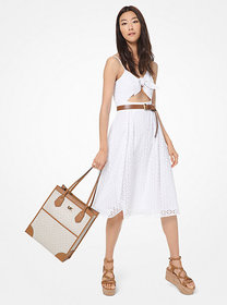 Michael Kors Floral Eyelet Knotted Cutout Dress