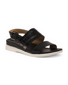 NATURALIZER Wide Croc Leather Sandals