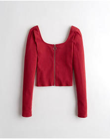 Hollister Full-Zip Square-Neck Top, RED