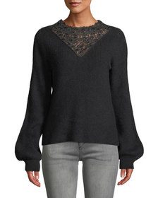 Marled by Reunited Lace Insert Balloon-Sleeve Swea