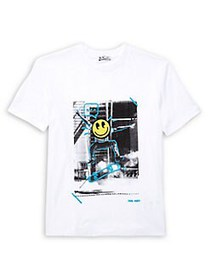 Dex Boy's Skateboard Scribble Graphic Tee WHITE
