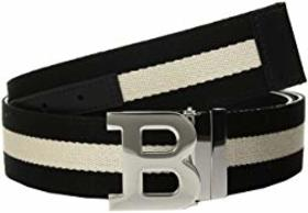 Bally B Buckle Bally Stripe Canvas and Leather Bel