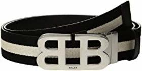 Bally Mirror B Buckle Bally Stripe Canvas and Leat